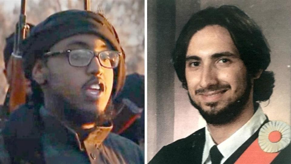 Farah Mohamed Shirdon, un jeune homme portant des lunettes, et Tarek Sakr, un jeune homme vêtu d'une toge de finissant.