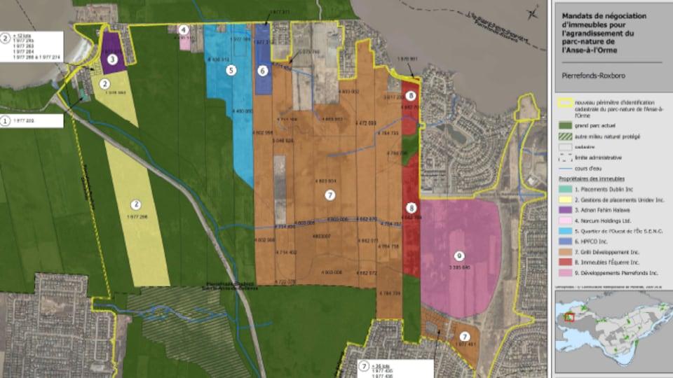 Carte des terrains appartenant aux promoteurs.