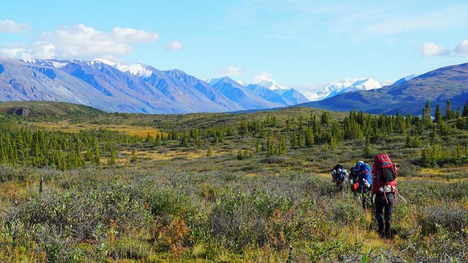 des randonneurs sur un sentier, des montagnes en fond