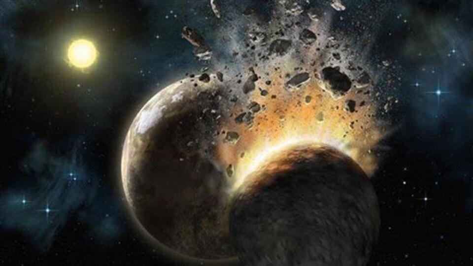 Impression artistique du choc entre un corps céleste et la Terre.