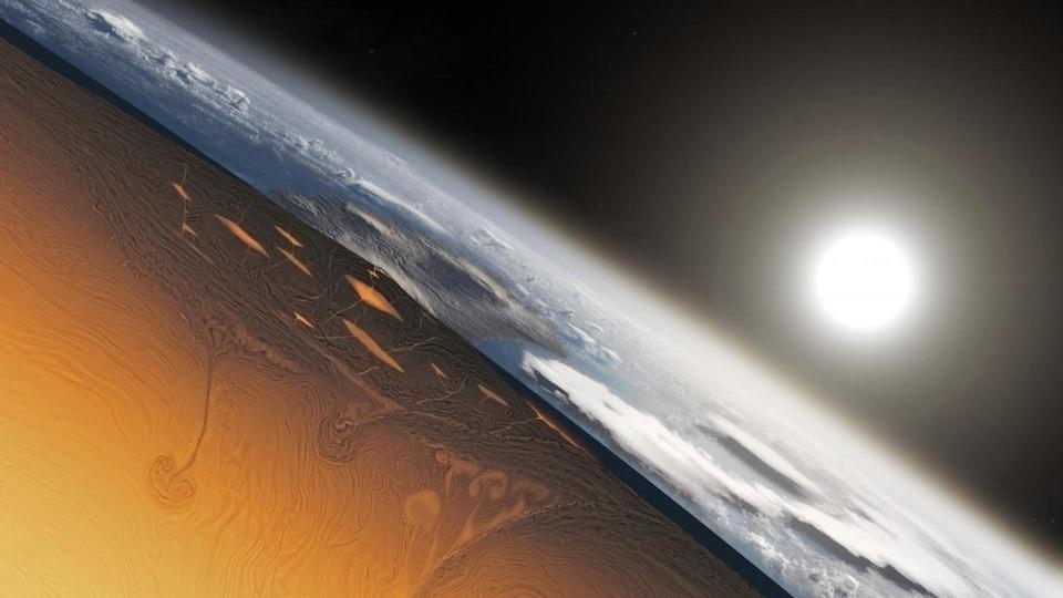 Illustration montrant l'apparition de la croûte terrestre il y a environ 3 à 4 milliards d'années.