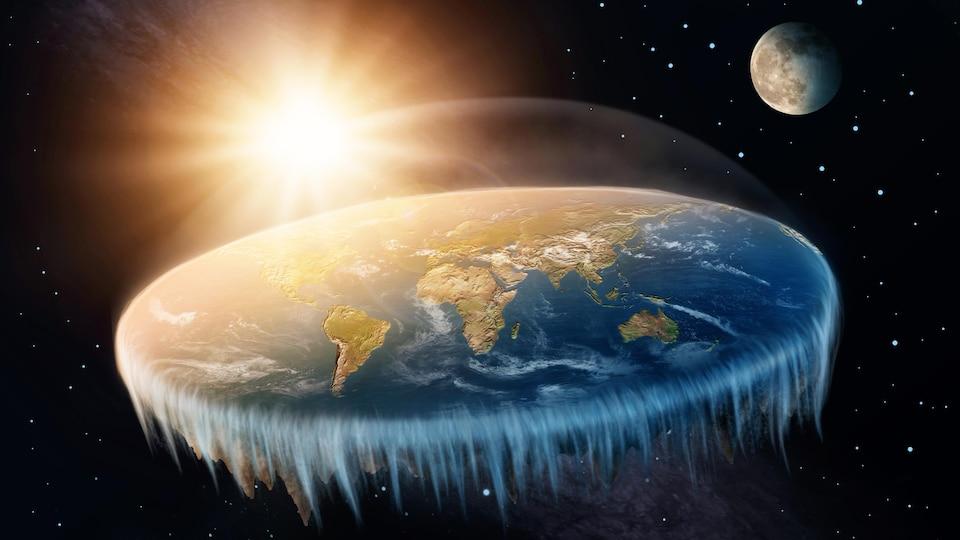 La Terre selon les platistes est un disque bordé par l'Antarctique et couvert d'un dôme qui maintient l'atmosphère en place.