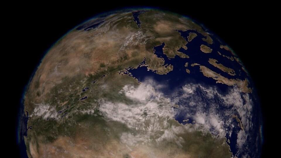 Dessin de la Terre vue de l'espace.