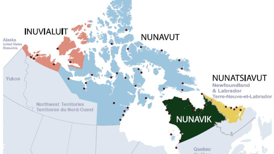 Carte du nord du Canada où sont situées les quatre régions du secteur Inuit Nunangat.