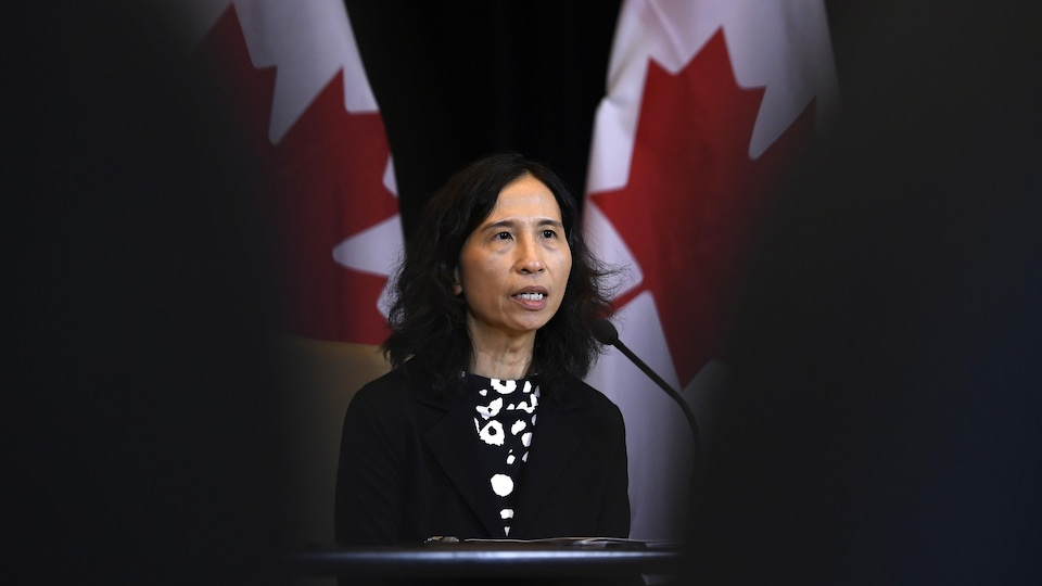 Theresa Tam lors d'une conférence de presse, devant des drapeaux canadiens.