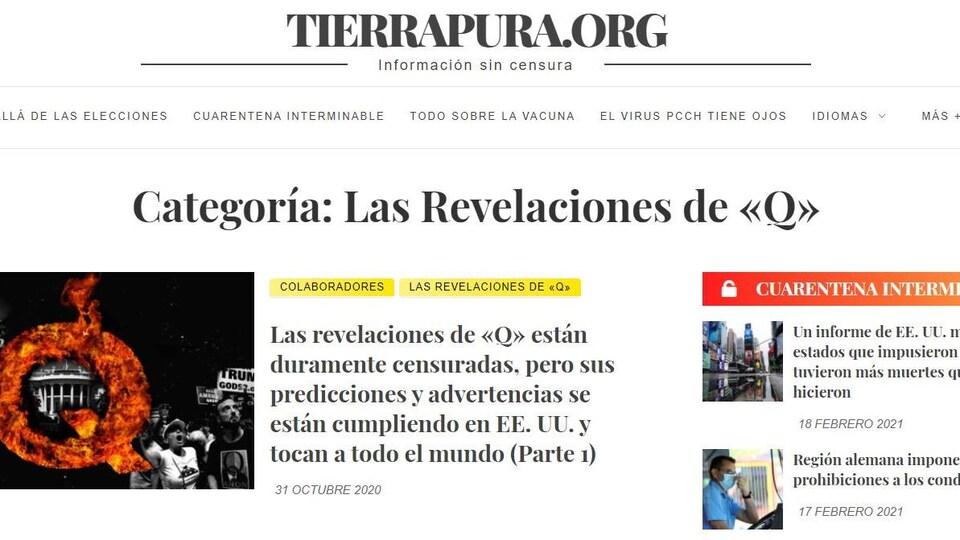 Capture d'écran du site web tierrapura.org.