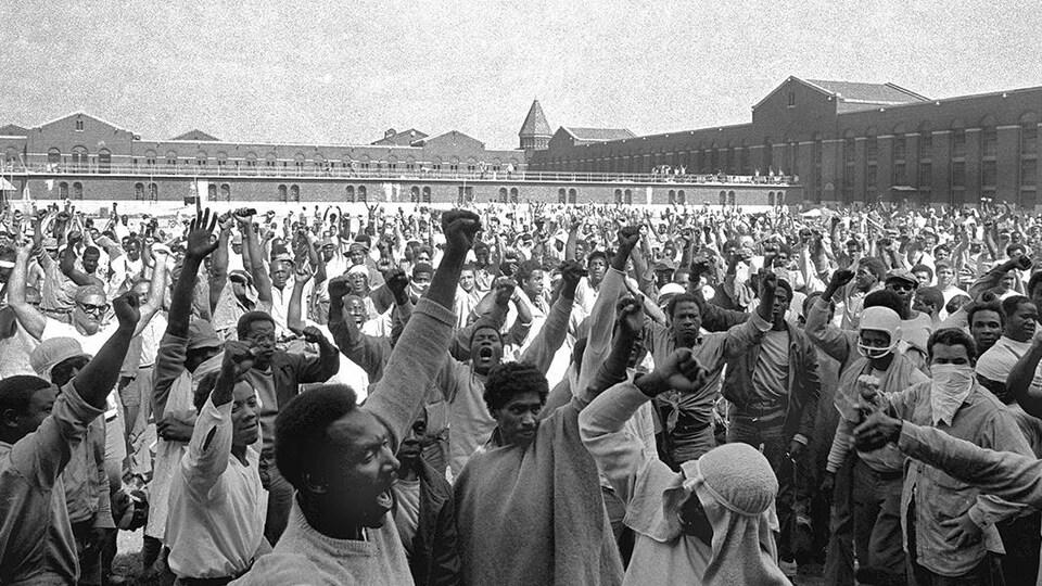 Une scène de la révolte de la prison d'Attica.