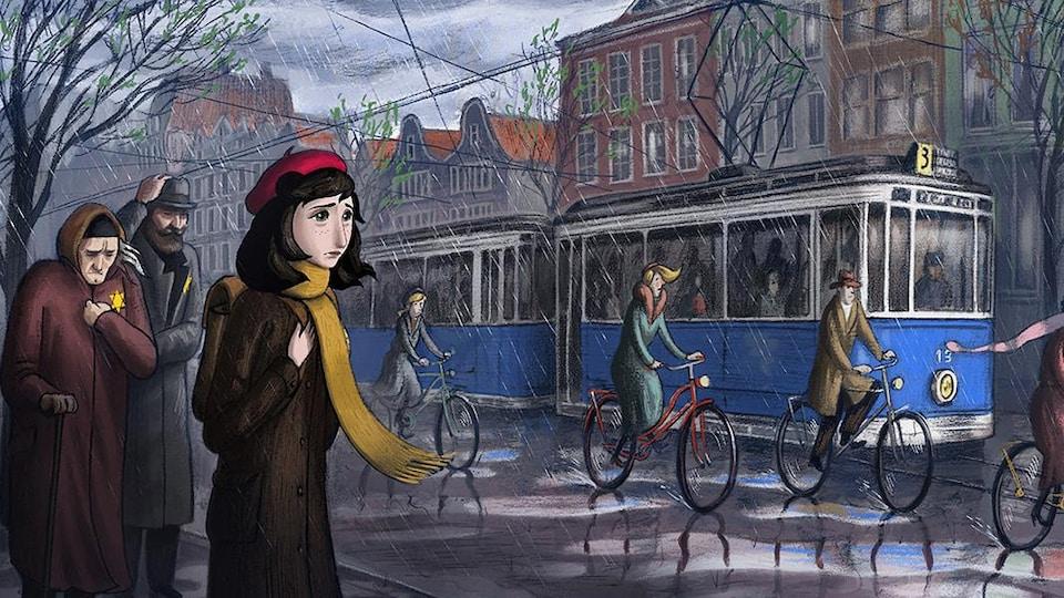 Une jeune femme marche dans la rue entourée de personnes portant une étoile de David sur leur manteau.