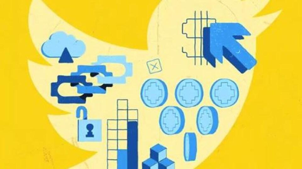 Un logo de Twitter, avec des dessins de pièces de monnaies, de cadenas, de flèches, et de cubes.