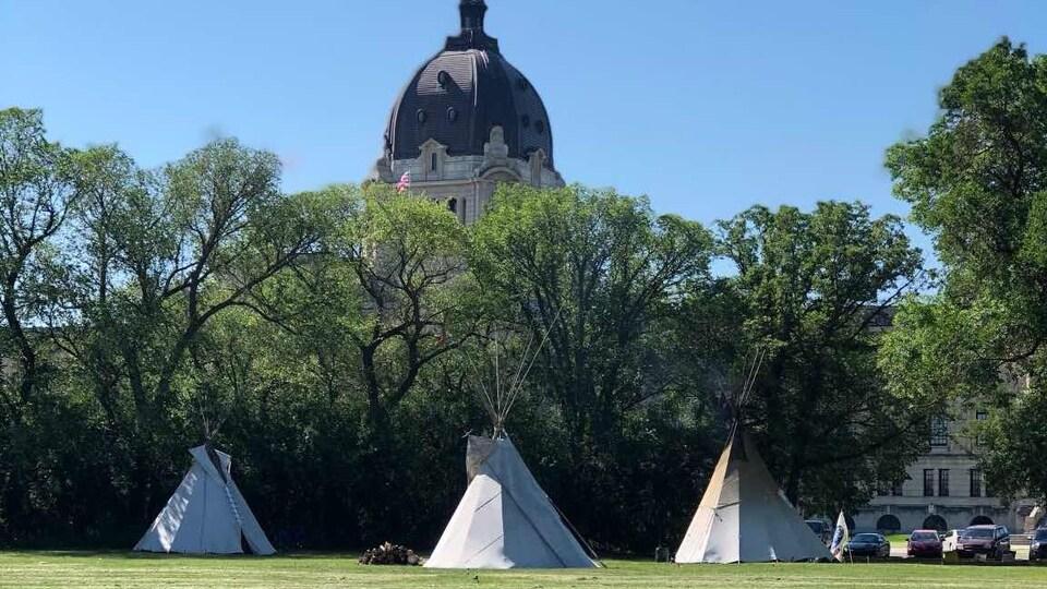Trois tipis installés sur un gazon devant un boisé.Une partie de l'assemblée législative de la Saskatchewan est visible derrière le boisé.