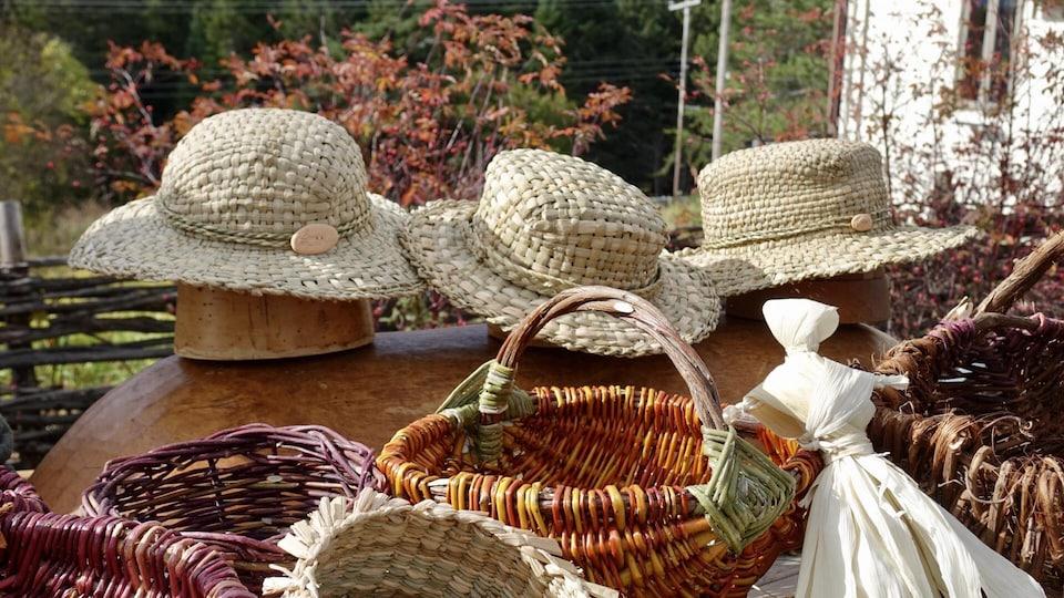 Laurence Thiffault fabrique des accessoires avec des quenouilles, du foin d'odeur, de la hart rouge et de l'osier, qu'elle cultive ou cueille dans la nature.