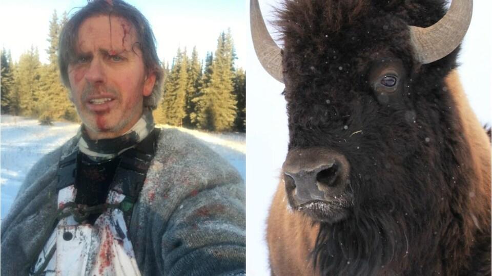 Todd Pilgrim à gauche et un bison à droite.