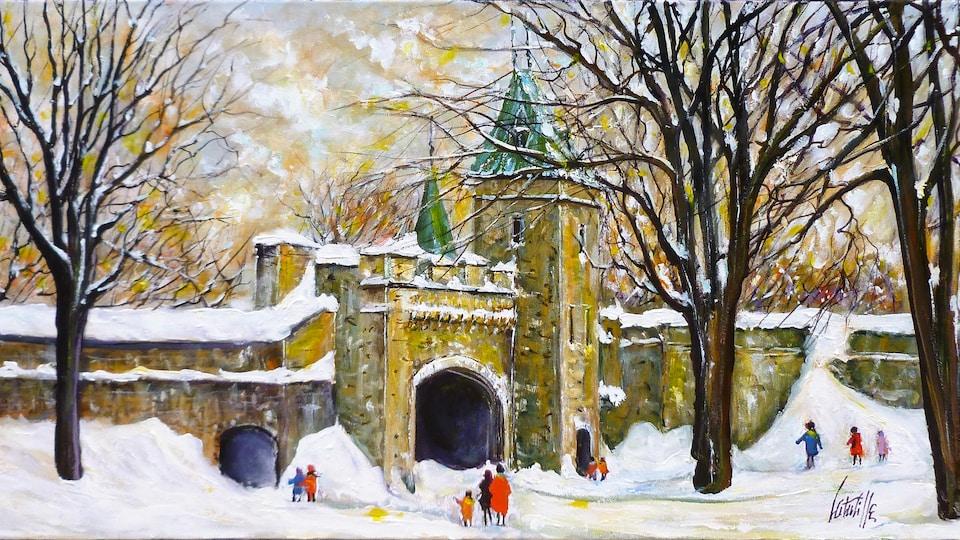 Un tableau représente la Porte Saint-Louis dans le Vieux-Québec en hiver.