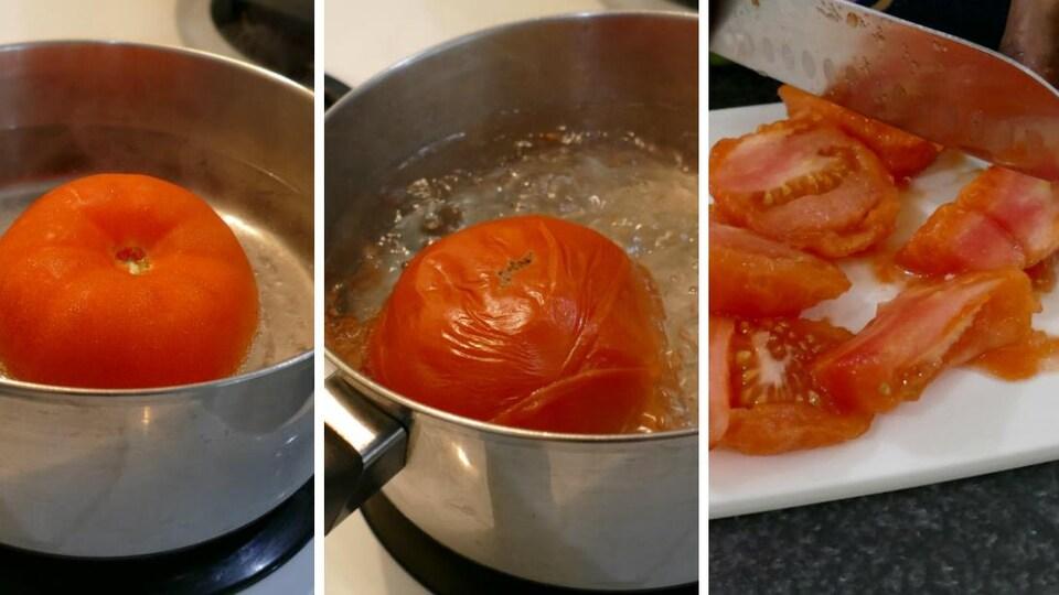 Une tomate qui bout dans un chaudron et qu'on coupe en quartier.
