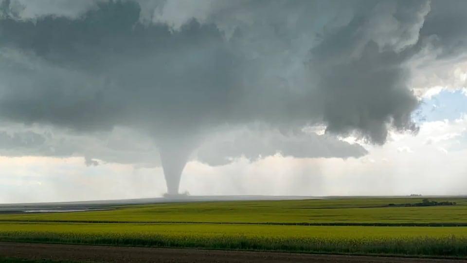 Un nuage en entonnoir qui se trouve au-dessus d'un immense champ à Kincaid, en Saskatchewan.