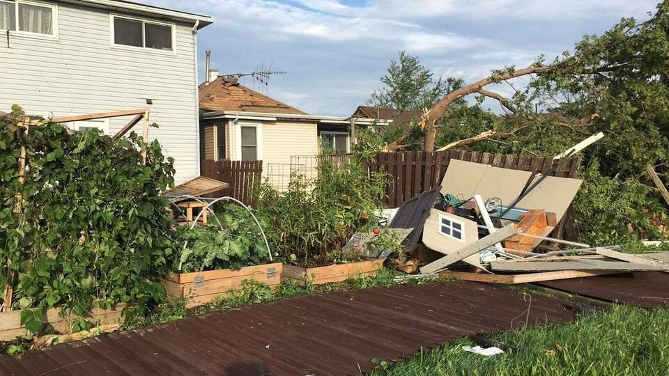 Des arbres arrachées et un jardin emdommagé par la tornade.