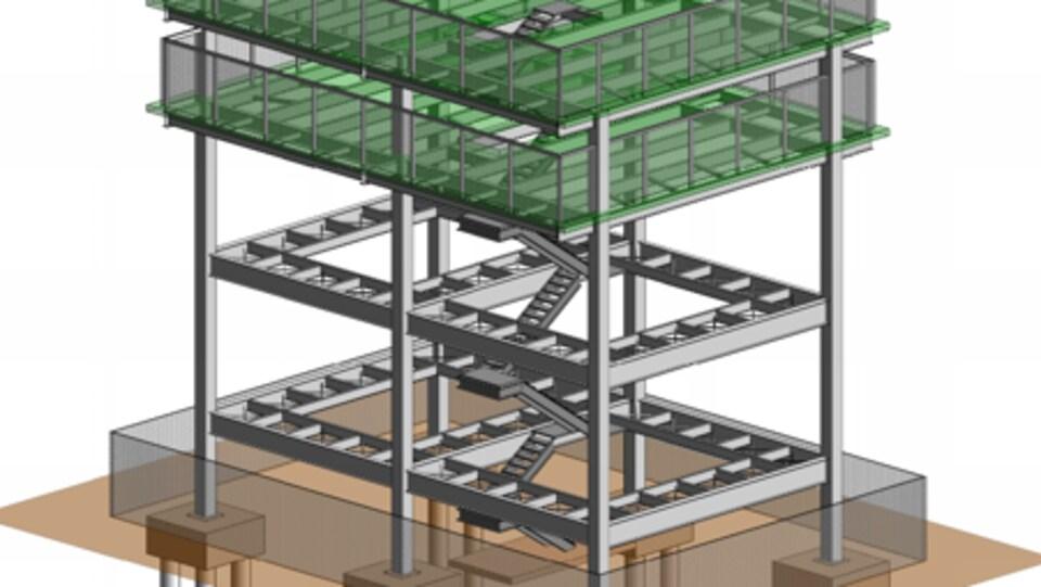 Plan d'une tour, soutenue par des poteaux cylindriques, avec des escaliers qui montent jusqu'à deux plateformes.