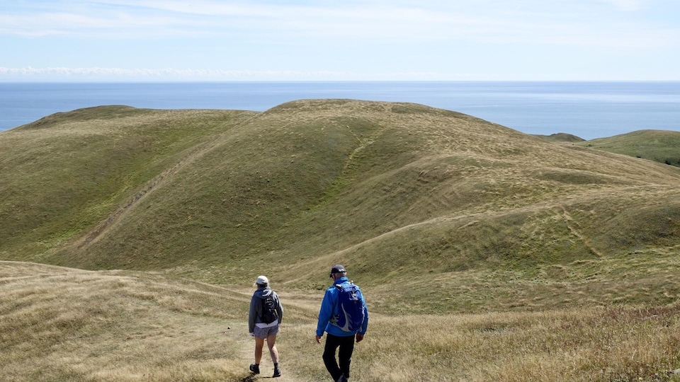 Un homme et une femme font une randonnée sur l'Île d'Entrée