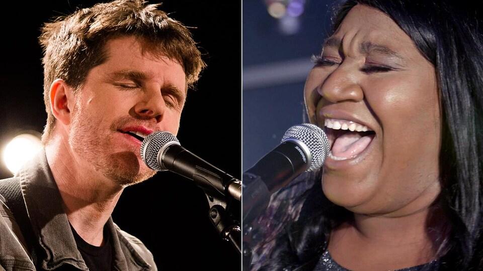 Deux photos côte à côte, une de Vincent Vallières et une de Mélissa Bédard. Les deux chantent au micro les yeux fermés.