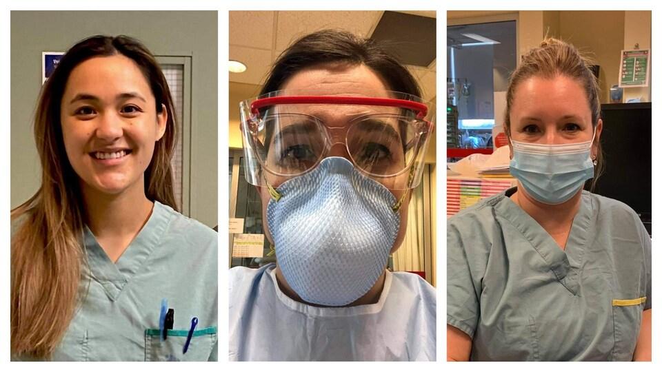 Lindsay Vongsawath-Chouinard, Jennifer Boissonnault et Cathy Deschênes sont infirmières à l'unité des soins intensifs de l'Hôpital de l'Enfant-Jésus.