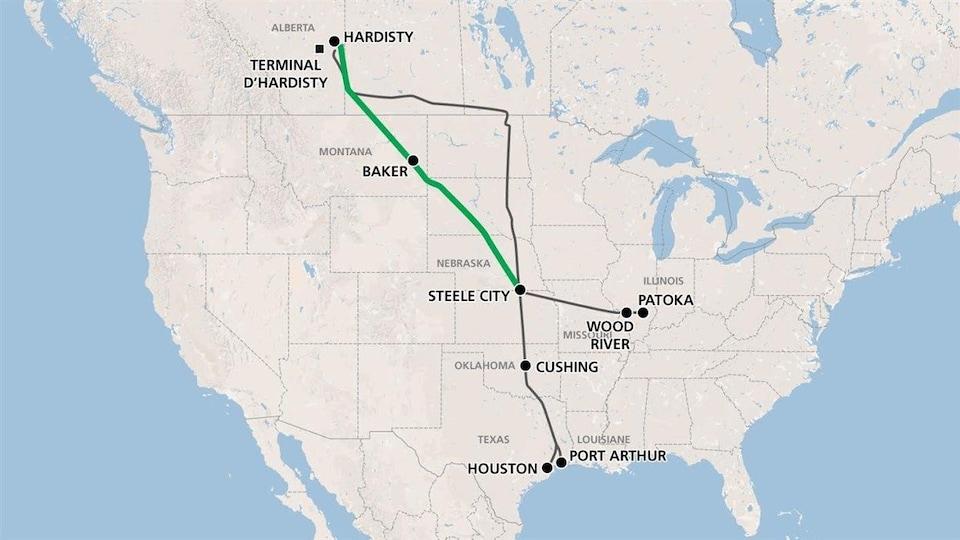 Une carte du Canada et des États-Unis. Une ligne verte relie Hardisty, en Alberta, à Steele City au Nebraska. Une ligne noire relie quant à elle Hardisty à Houston et Port Arthur au Texas.