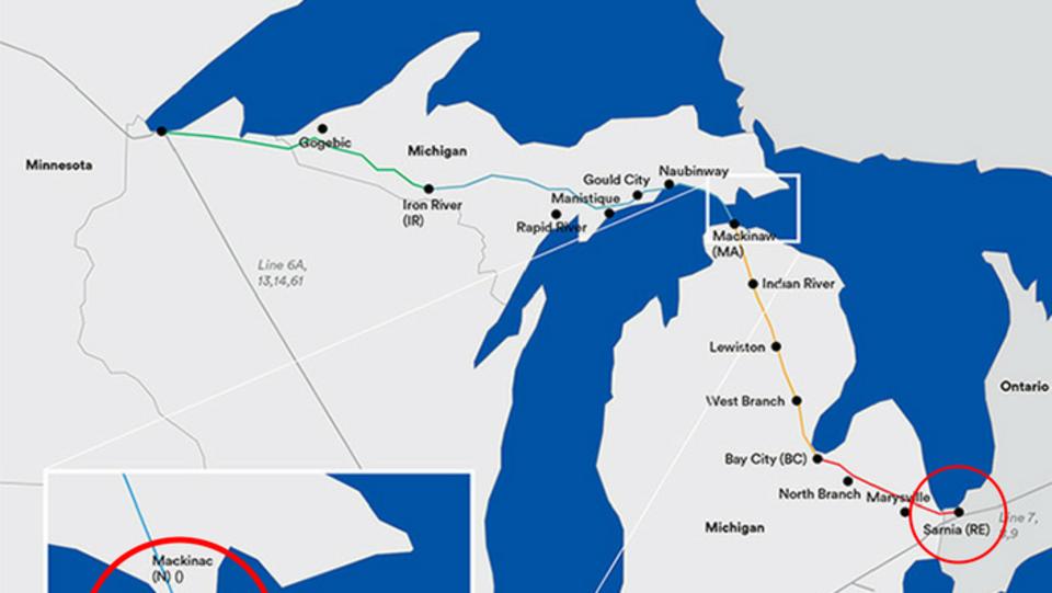 Carte du tracé avec les sites de travaux à Sarnia et Mackinac