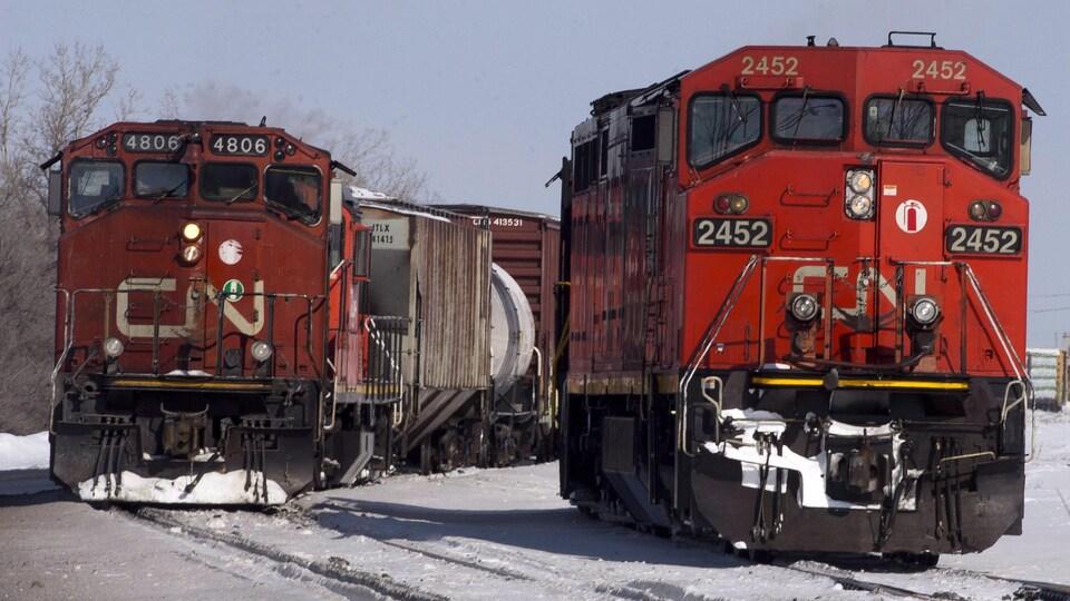 Deux trains du CN.
