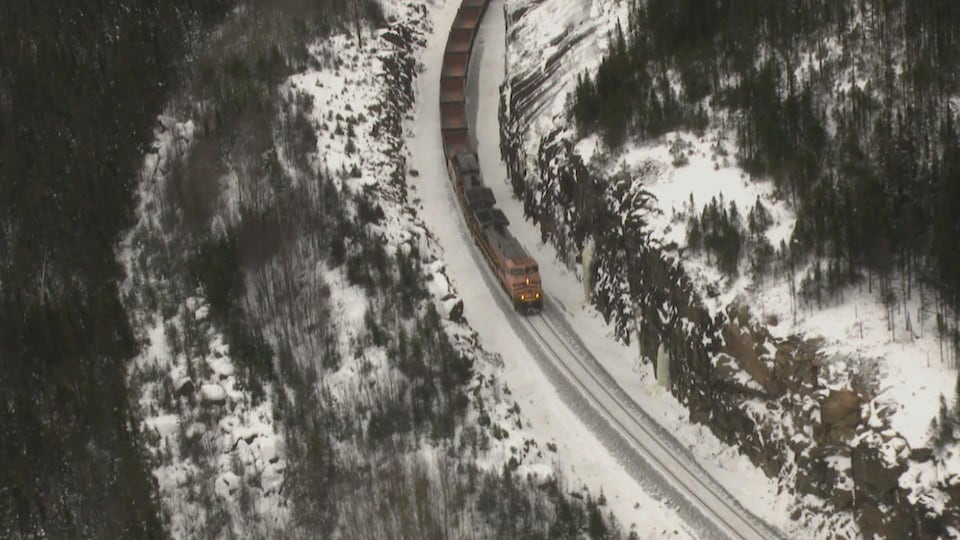 Le train circule dans un paysage enneigé.