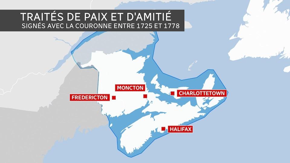 Les territoires couverts par les traités de paix et d'amitié signés avec la Couronne entre 1725 et 1778.