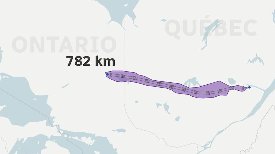 Carte du trajet du gazoduc entre l'Ontario et le Québec.