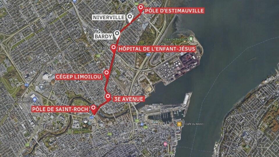 Le tracé du tramway dans Limoilou à Québec.