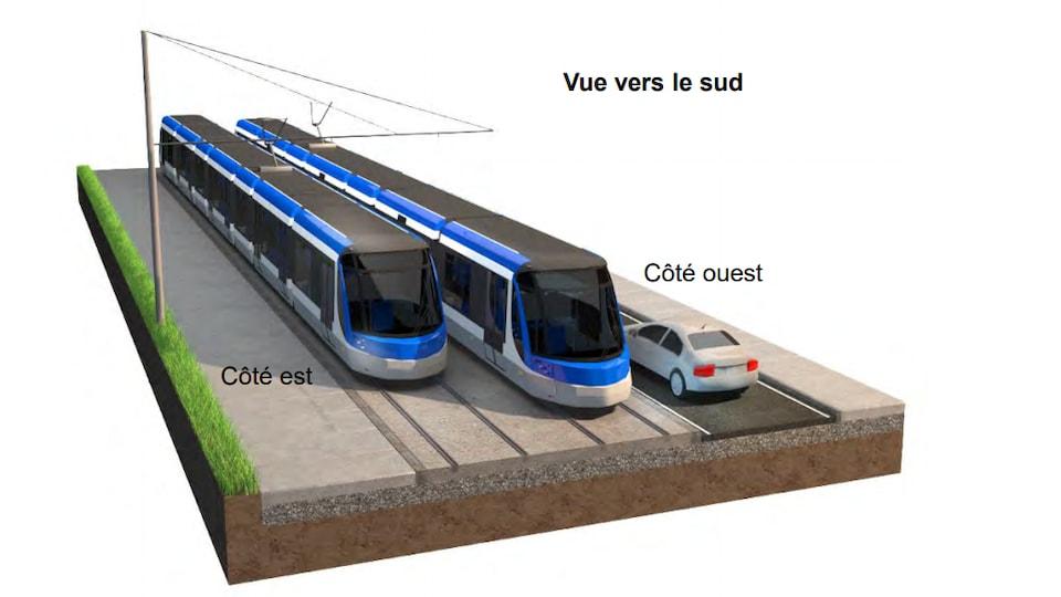 Un croquis du projet de tramway à Québec.
