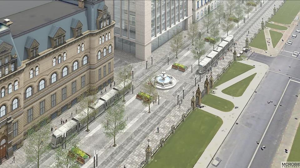Image créée où l'on voit deux tramways sur la rue Wellington au centre-ville d'Ottawa.