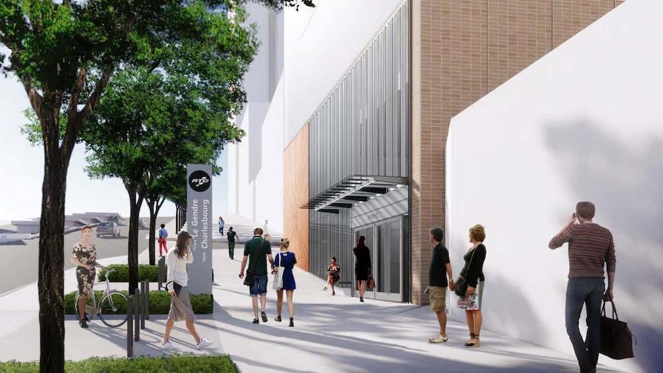 Maquette conceptuelle de l'extérieur d'une station de tramway dont les murs seront faits de bois et de verre.