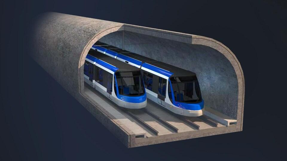 Esquisse du projet de tramway de la Ville de Québec montrant deux rames à l'intérieur d'un tunnel.