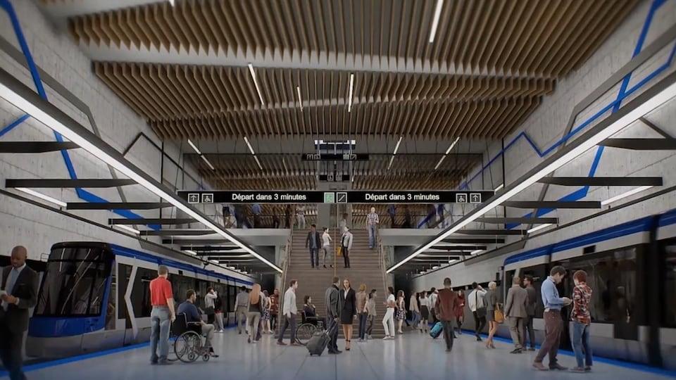 Esquisse d'une station souterraine du tramway.