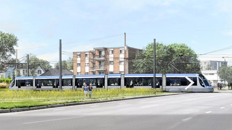 Maquette du tramway à son passage sous les lignes d'Hydro-Québec