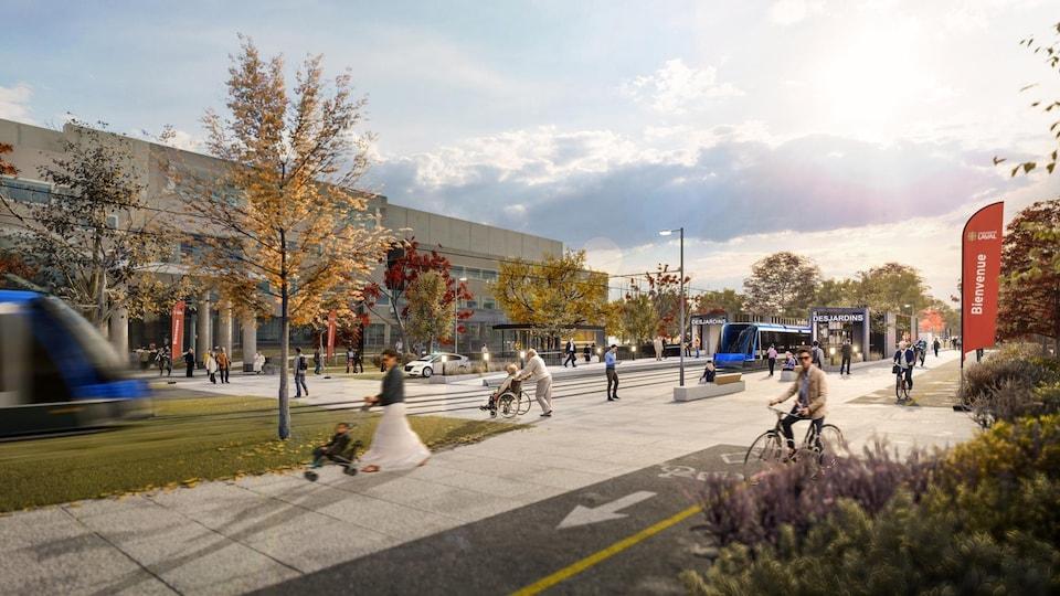 Esquisse du réseau structurant de transport en commun de la Ville de Québec montrant le passage de la ligne de tramway sur le campus de l'Université Laval
