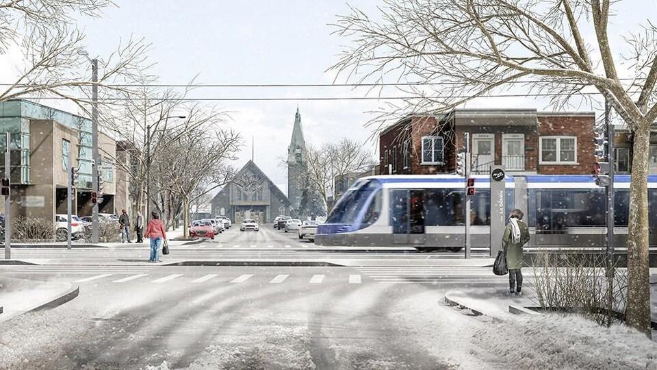 Un croquis du tramway à l'intersection entre la rue des Frênes et la 1re Avenue. Des passants sont sur le trottoir et une fine neige recouvre le sol.