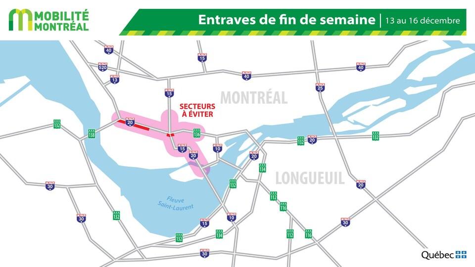 Carte des entraves routières pour la fin de semaine du 13 décembre.