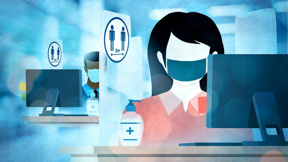 Une illustration montre des gens assis derrière un ordinateur et dont les bureaux sont séparés par des cloisons.