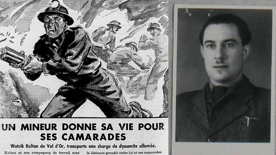 Une coupure de journal et un portait montrent un homme d'origine polonaise en 1949.