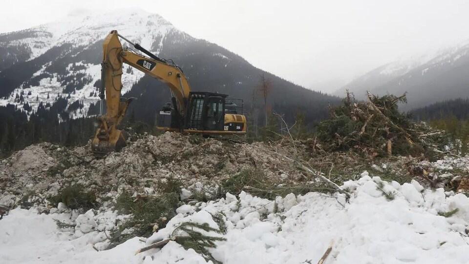Une excavatrice sur un monticule de terre avec de la neige et la montagne en arrière-plan.