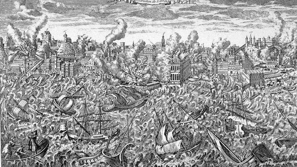 Illustration en noir et blanc représentant le séisme de Lisbonne.