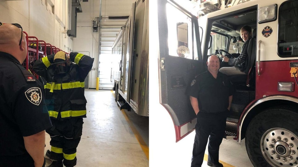A teenager sitting in a fire truck and a firefighter standing, smiling, next to the truck.
