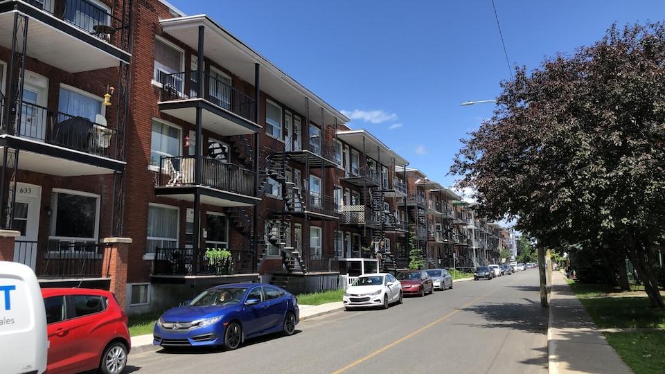 Une rue bordée de triplex en été.