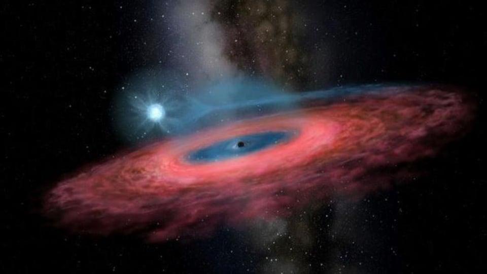Illustration artistique du trou noir LB-1.