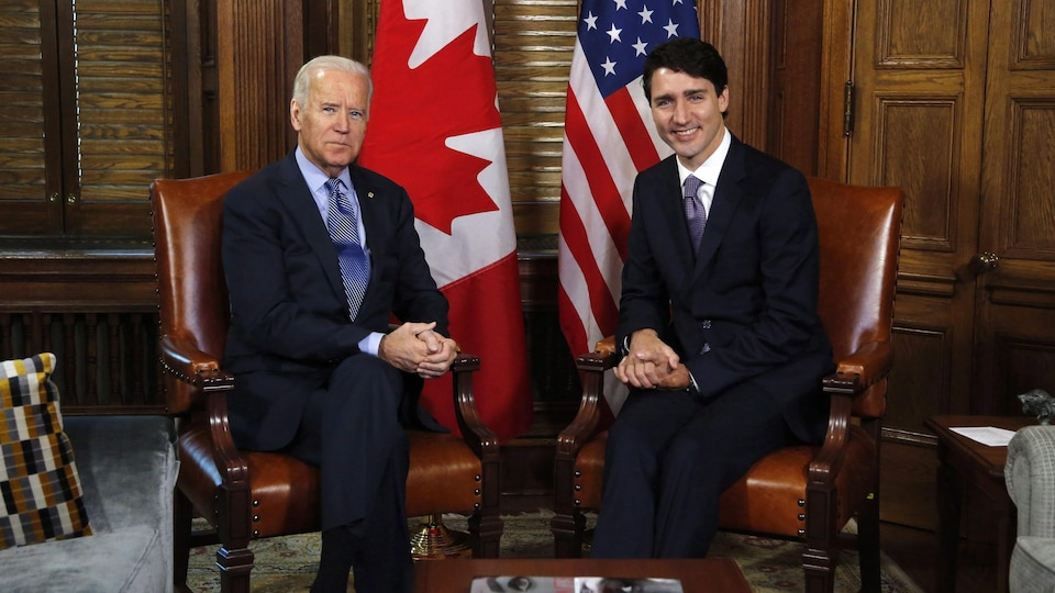 Joe Biden et Justin Trudeau, en 2016.