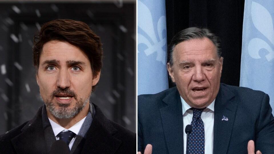 Montage de photos de Justin Trudeau et de François Legault