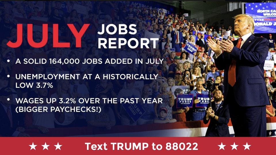 Une publicité électorale de Donald Trump, mettant l'accent sur des indicateurs économiques.